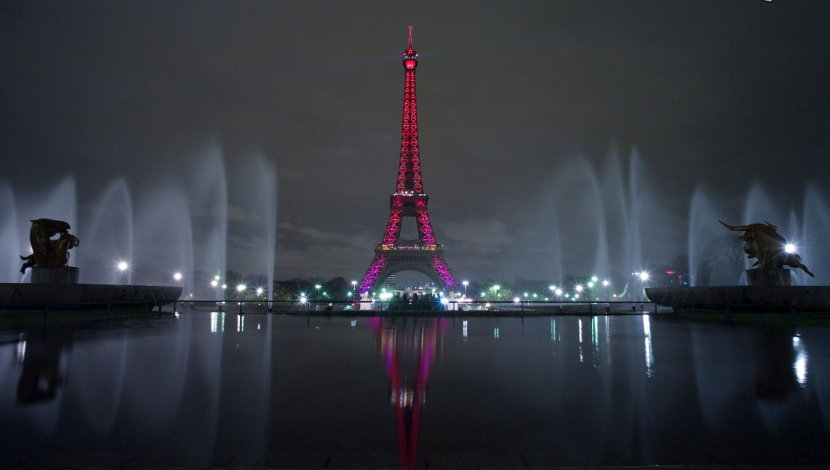 Eiffel Tower illuminated, Paris, France